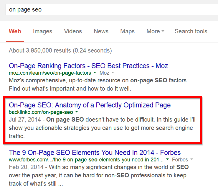 google search results first page