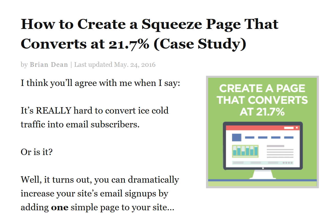 social squeeze page screenshot
