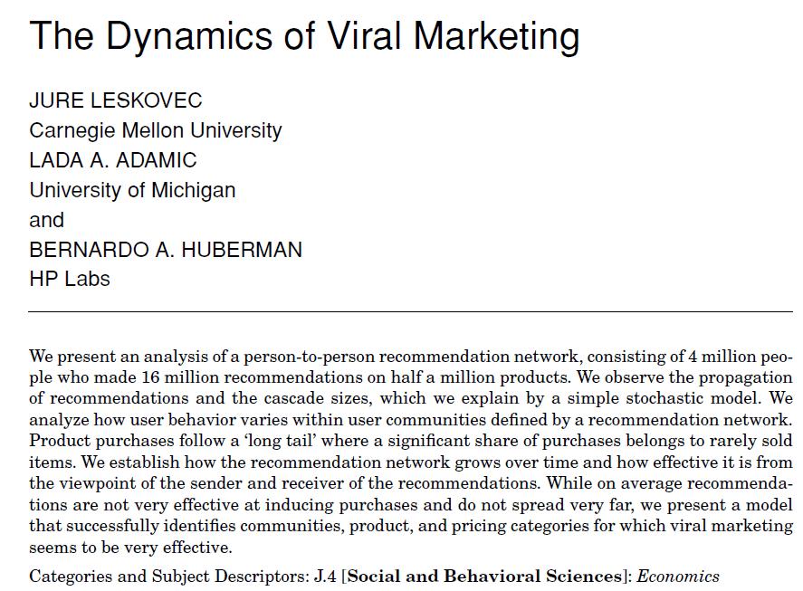 viral marketing research study