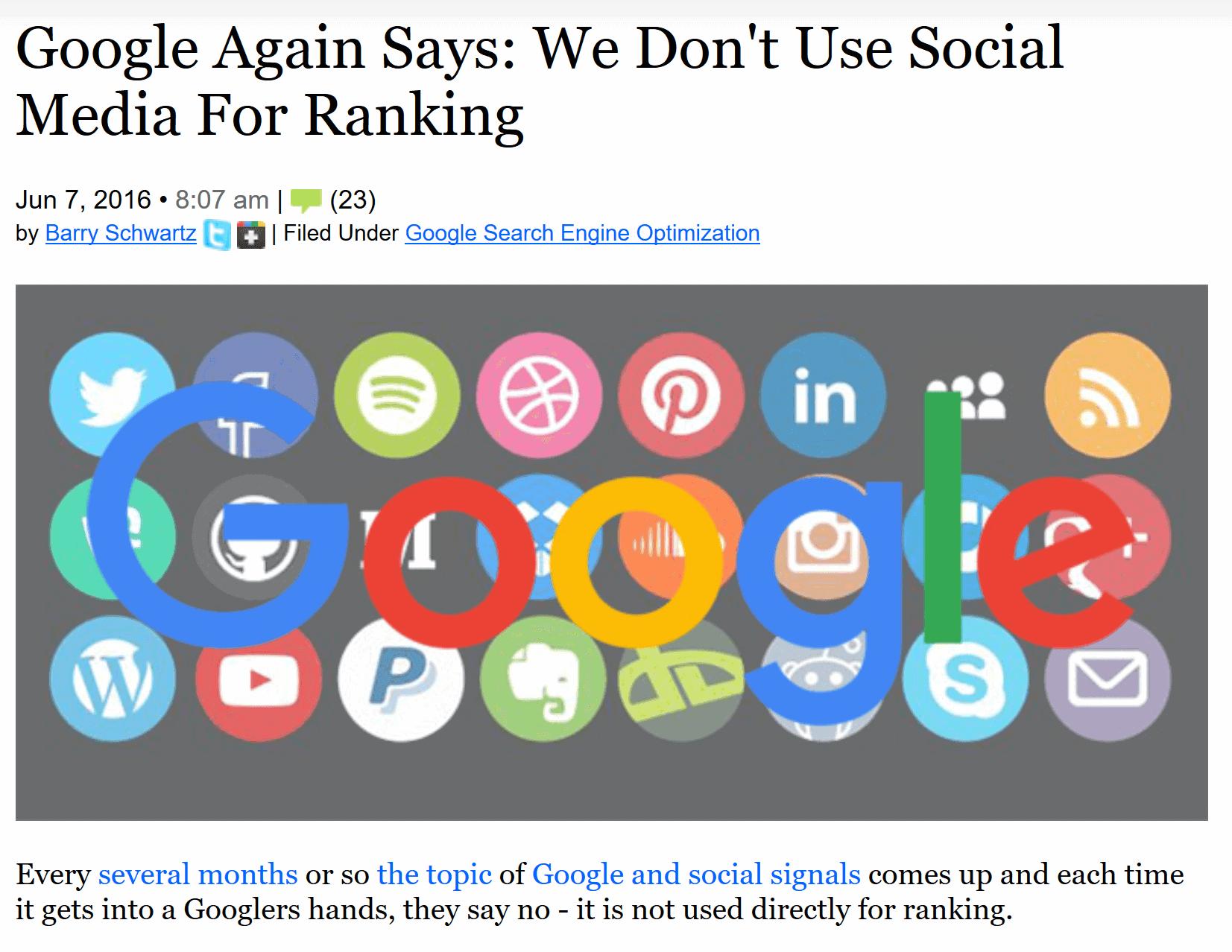 google social signals SEO