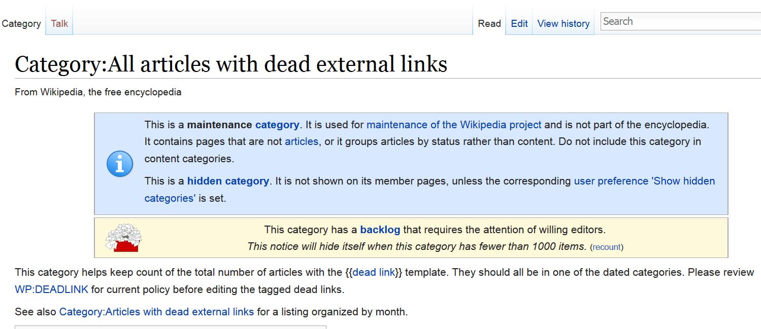 wikipedia dead links page