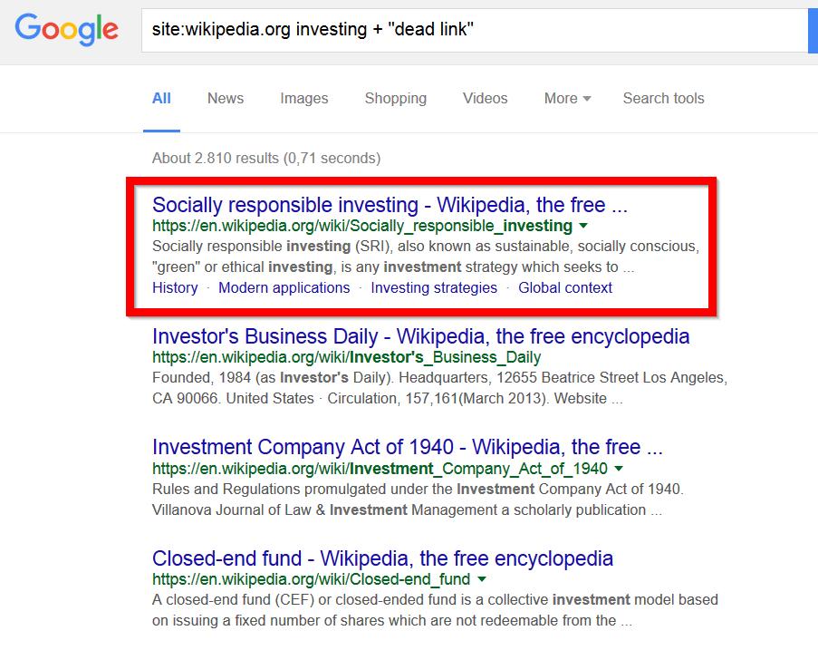 wikipedia entry in google