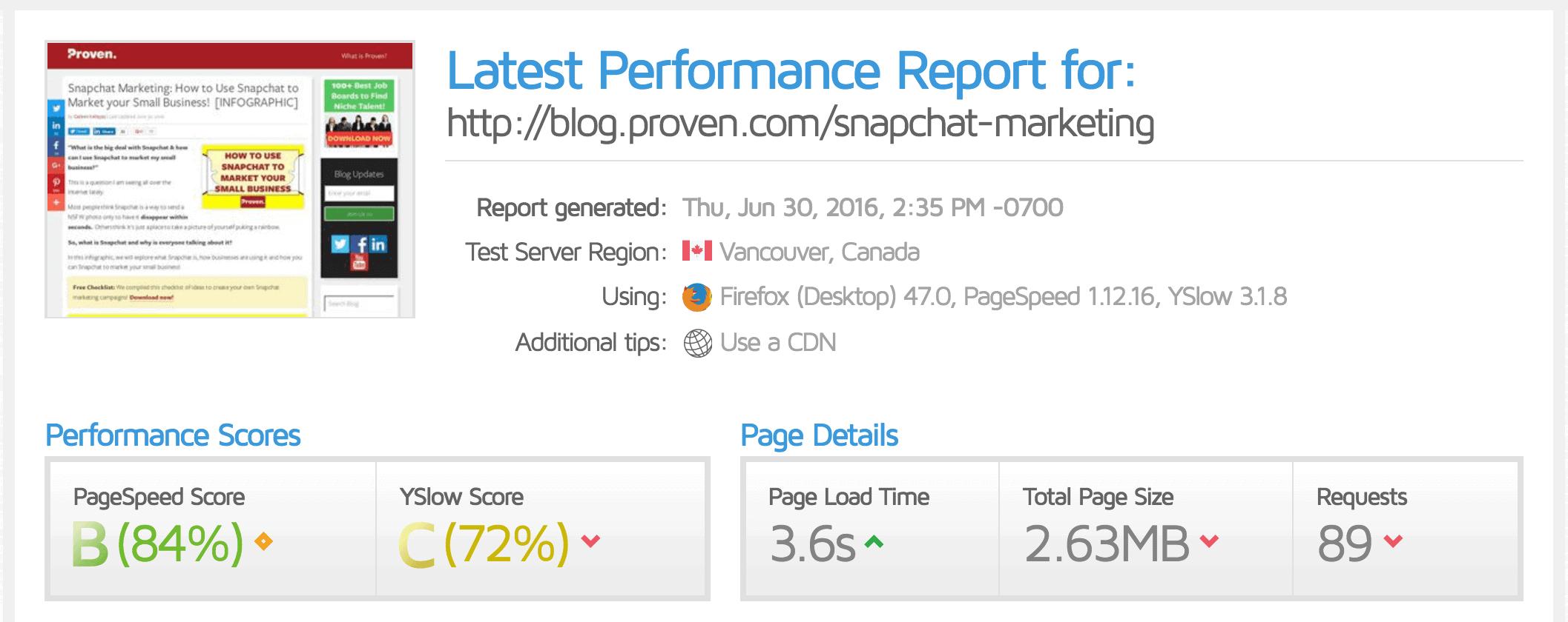 website speed report after