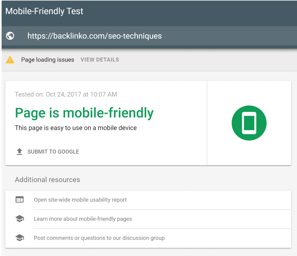 Mobile Friendly Report