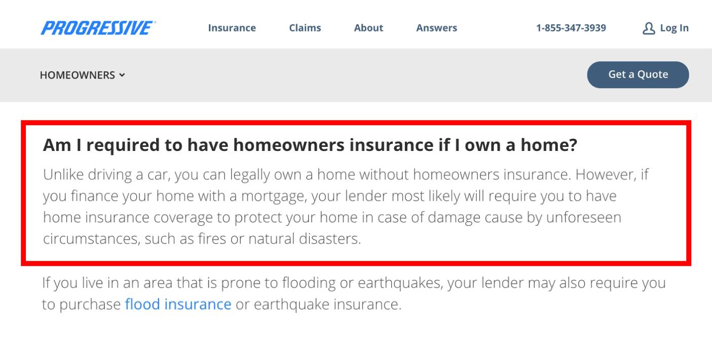 Progressive FAQ page