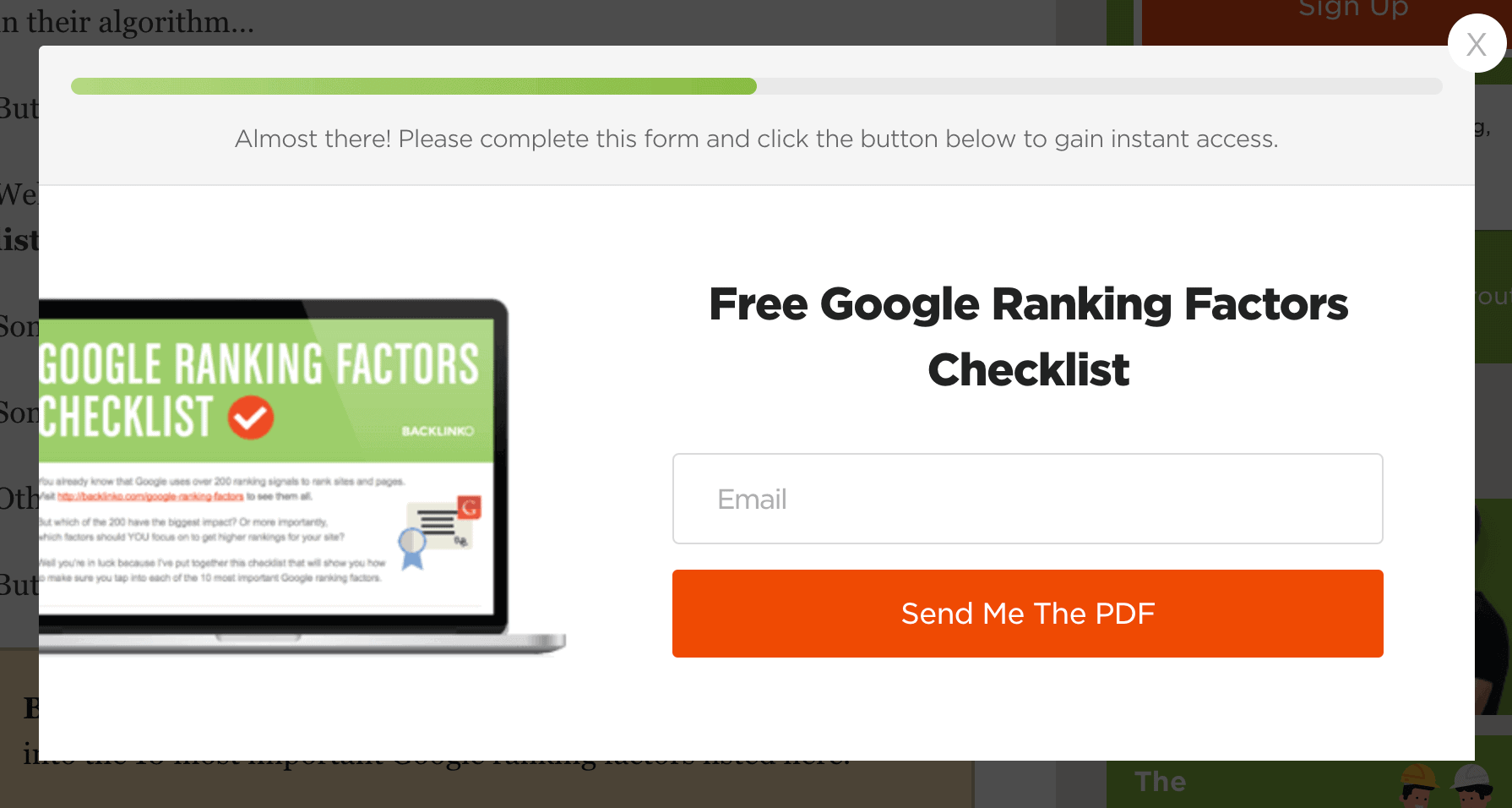 Page-specific popup
