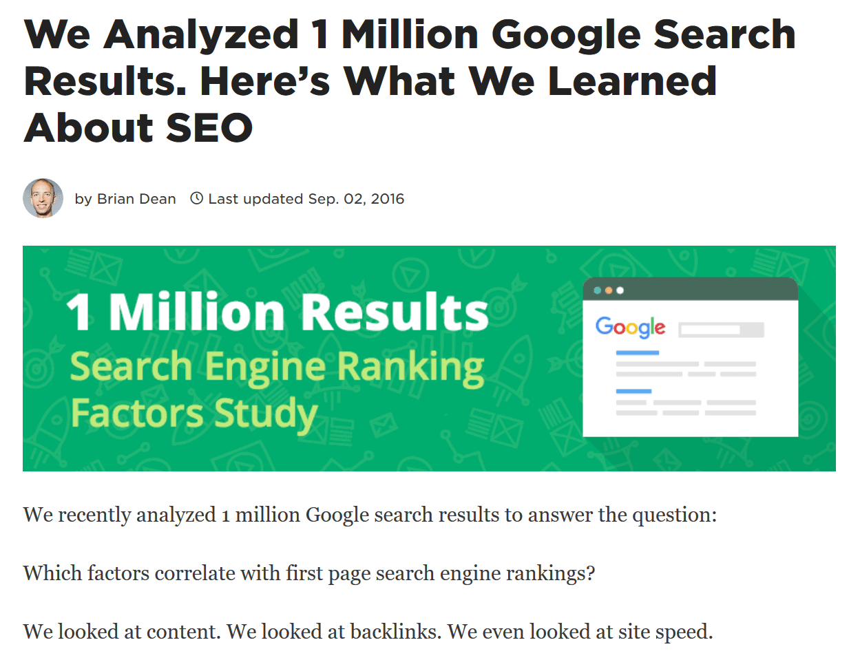 search engine ranking factors study