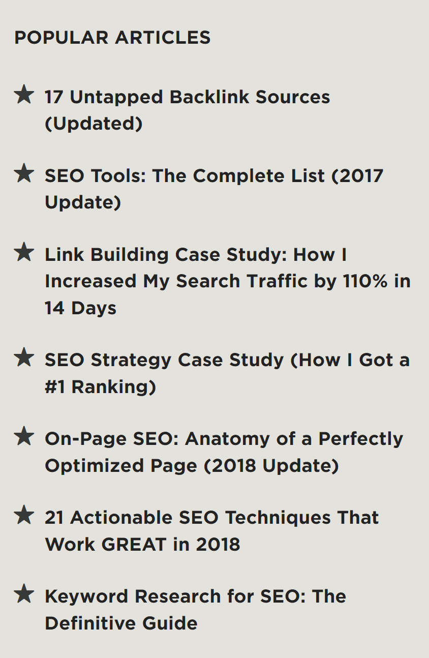 sidebar popular blog post list