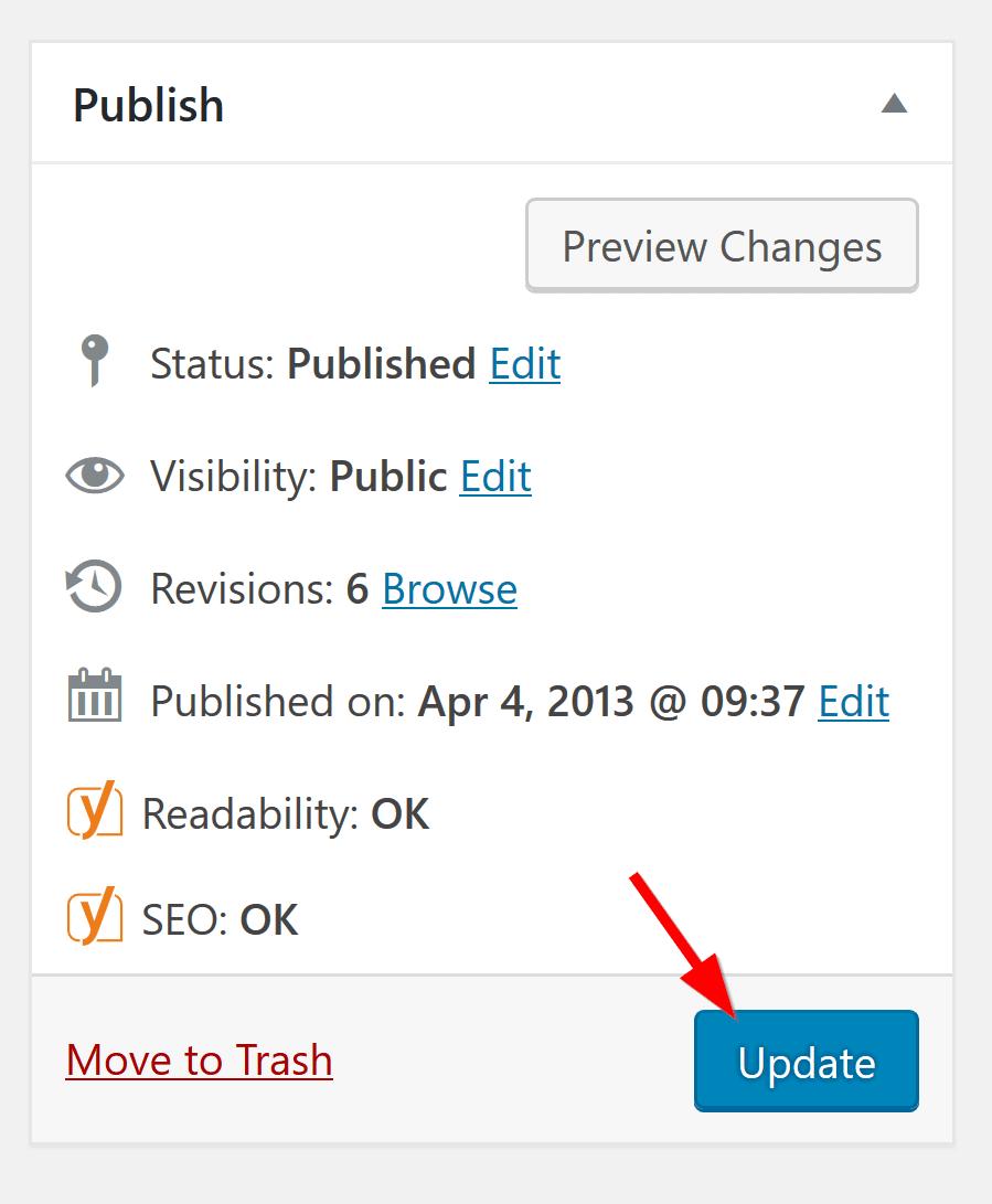 update in wordpress