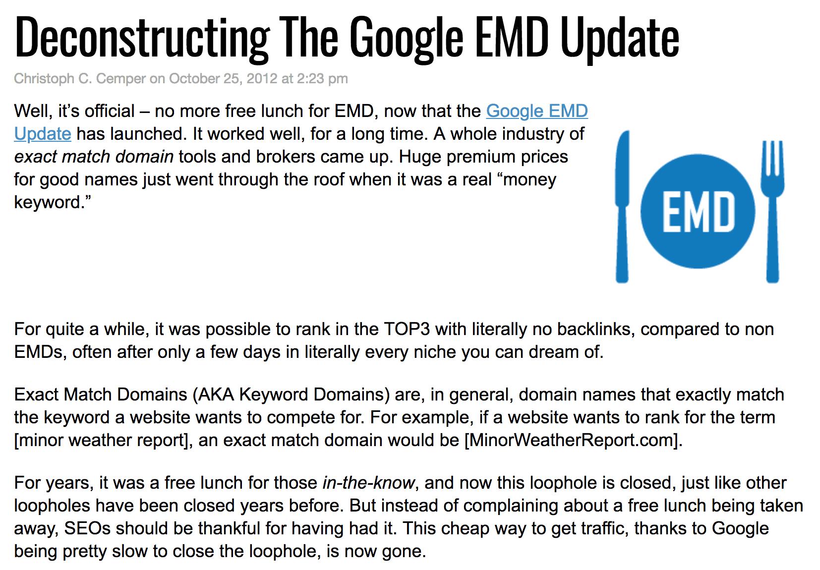 Google EMD update