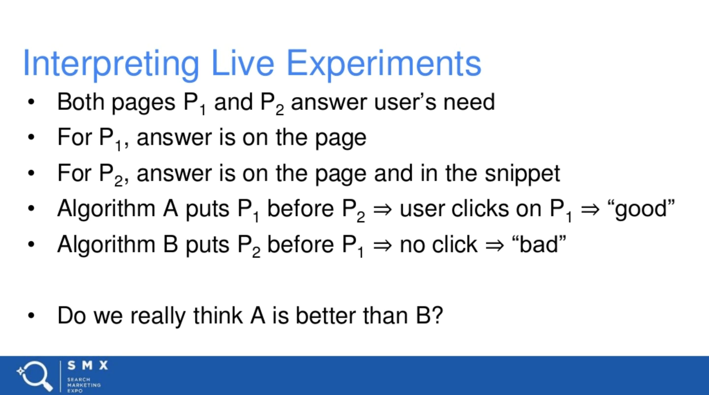 Interpreting live experiments