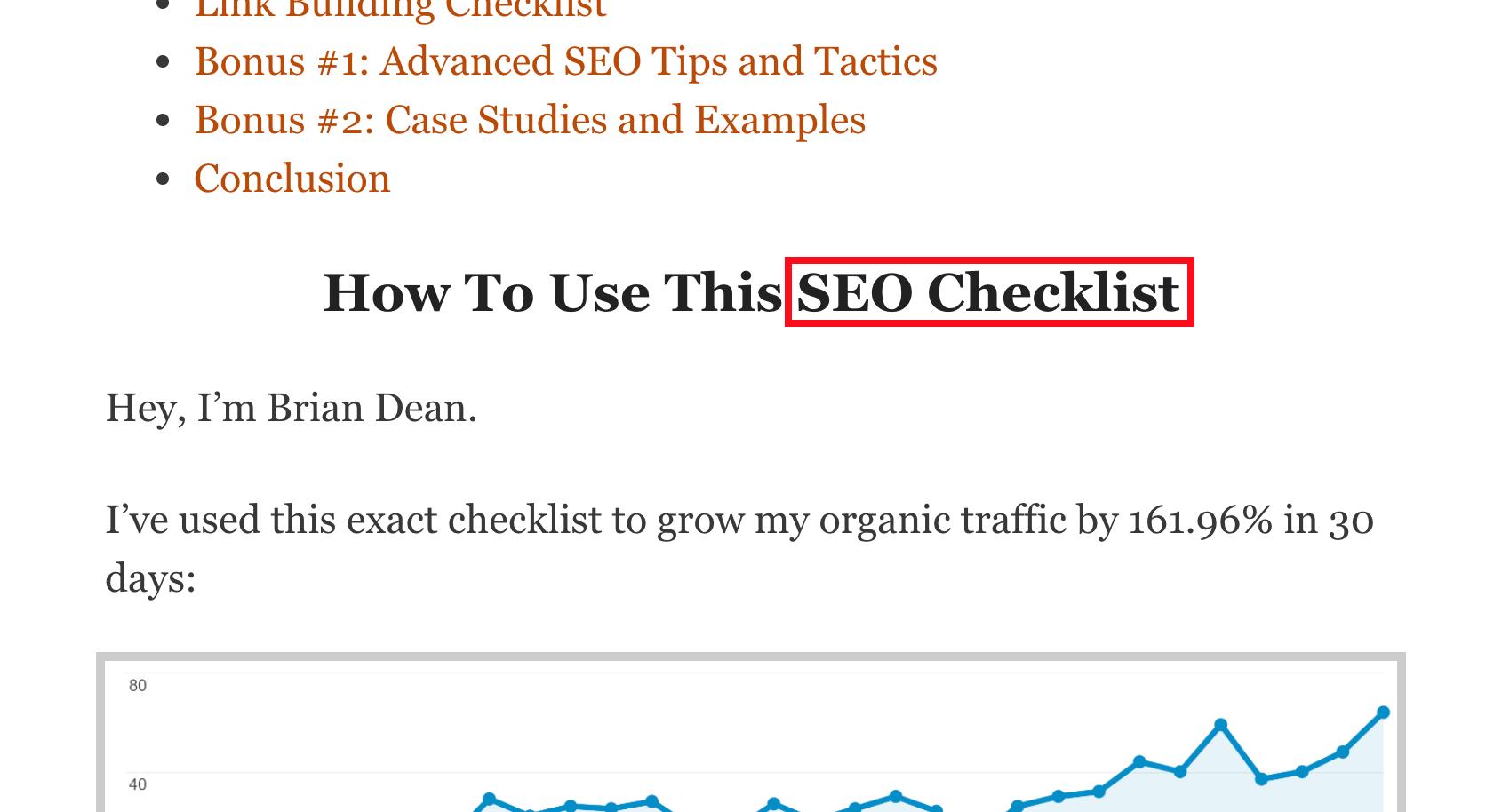 SEO Checklist keyword