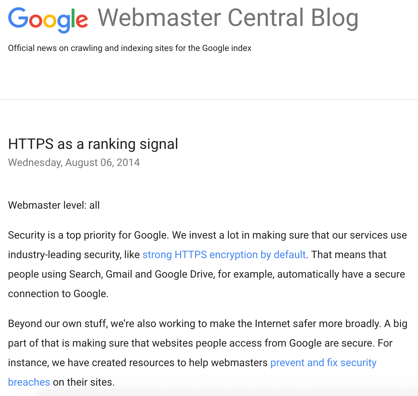 SSL as a ranking signal