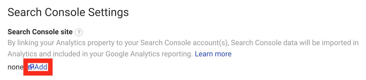Add search console property