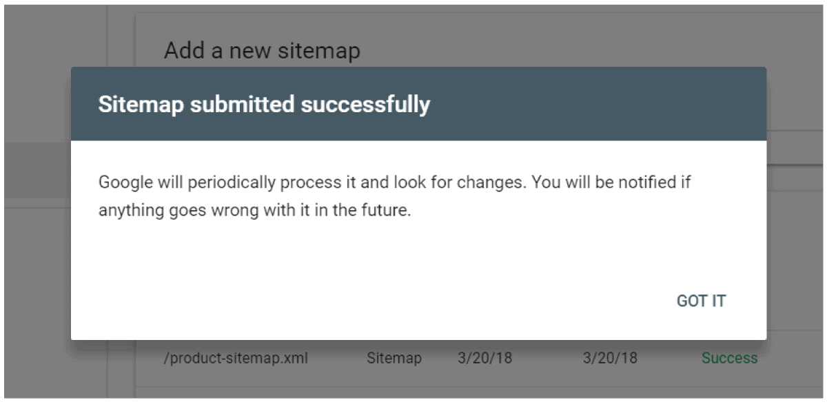 Submit sitemap success