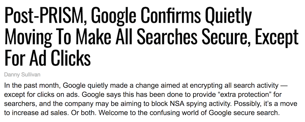 Google move to HTTPS