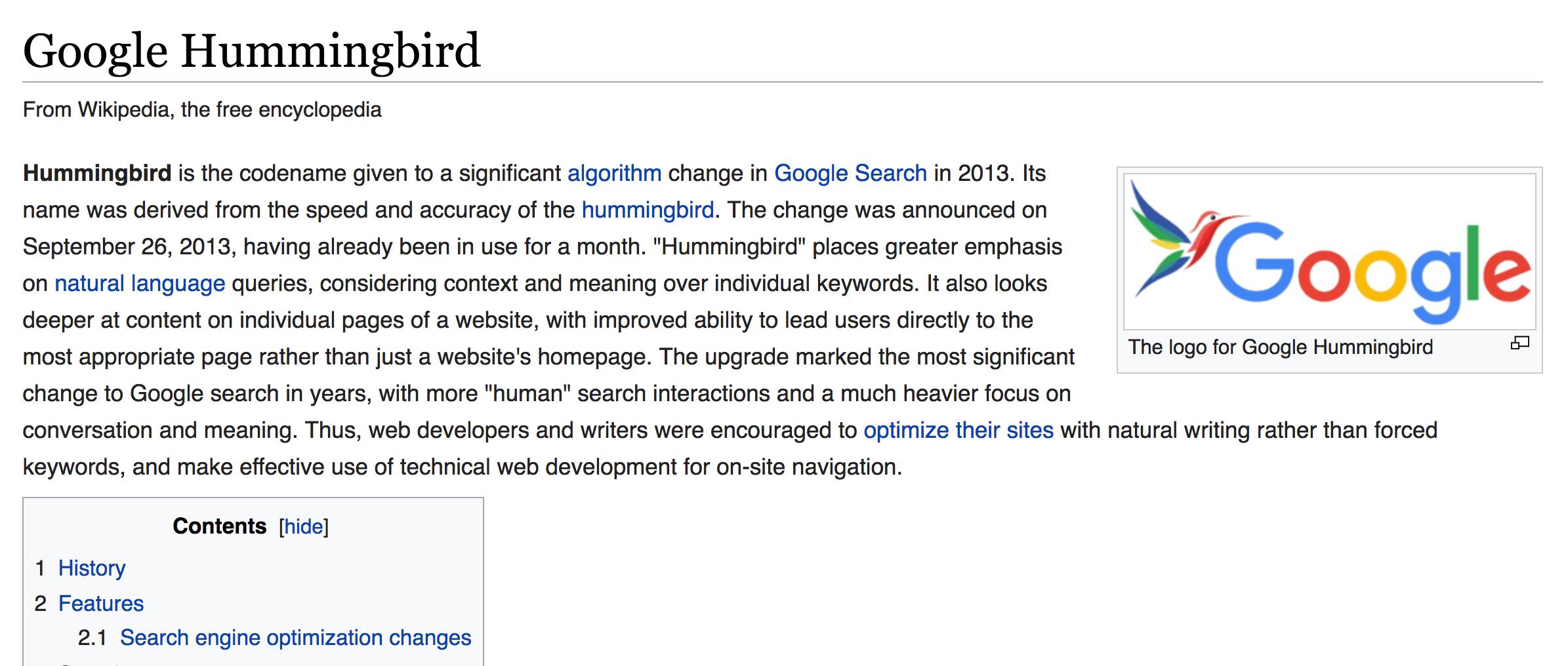 Google Hummingbird Wiki