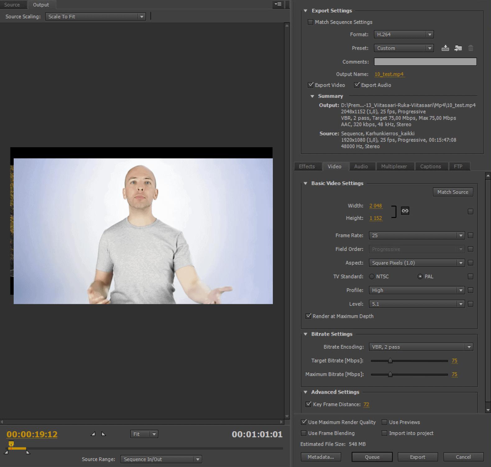 Adobe Premiere export