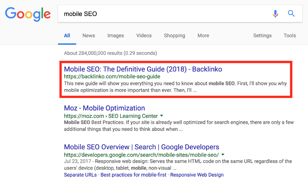 Mobile SEO ranking in the top three