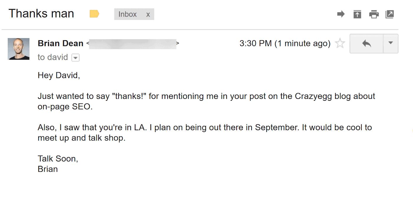 Thanks David email