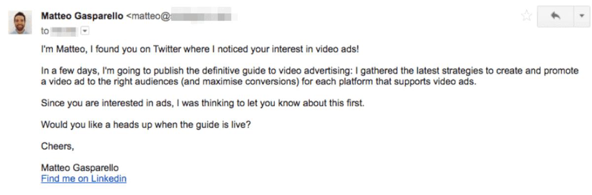 Matteo outreach email
