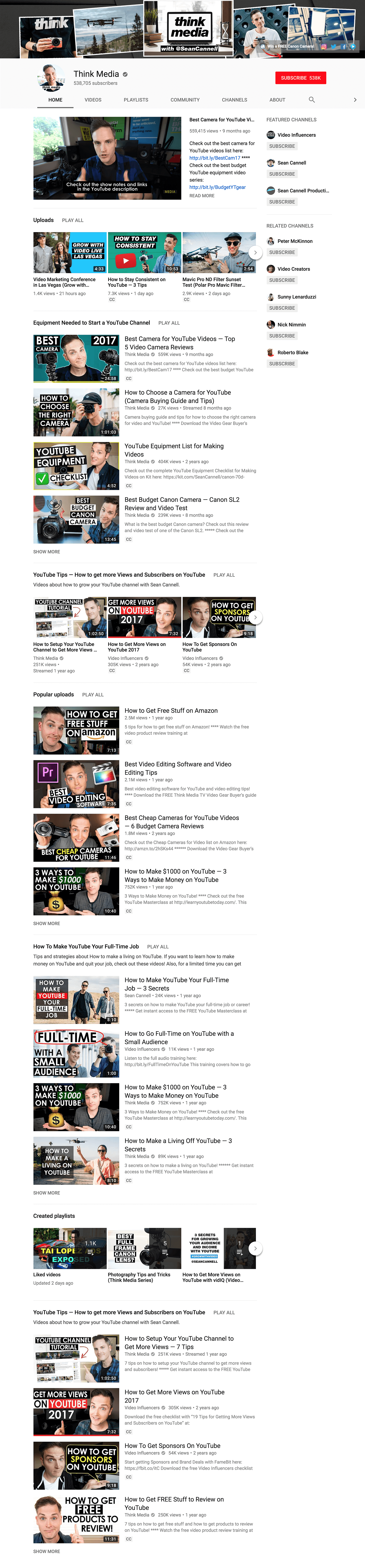 ThinkMedia Sections