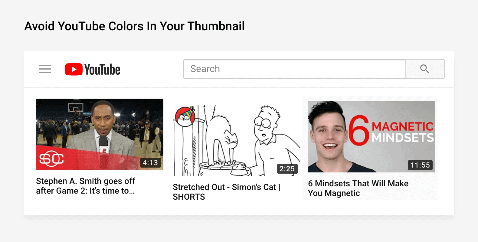 Avoid YouTube colors in your thumbnail