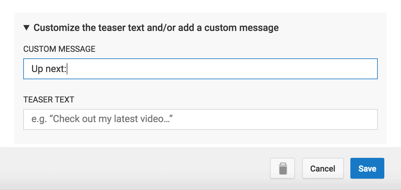 Teaser Text and Custom Message