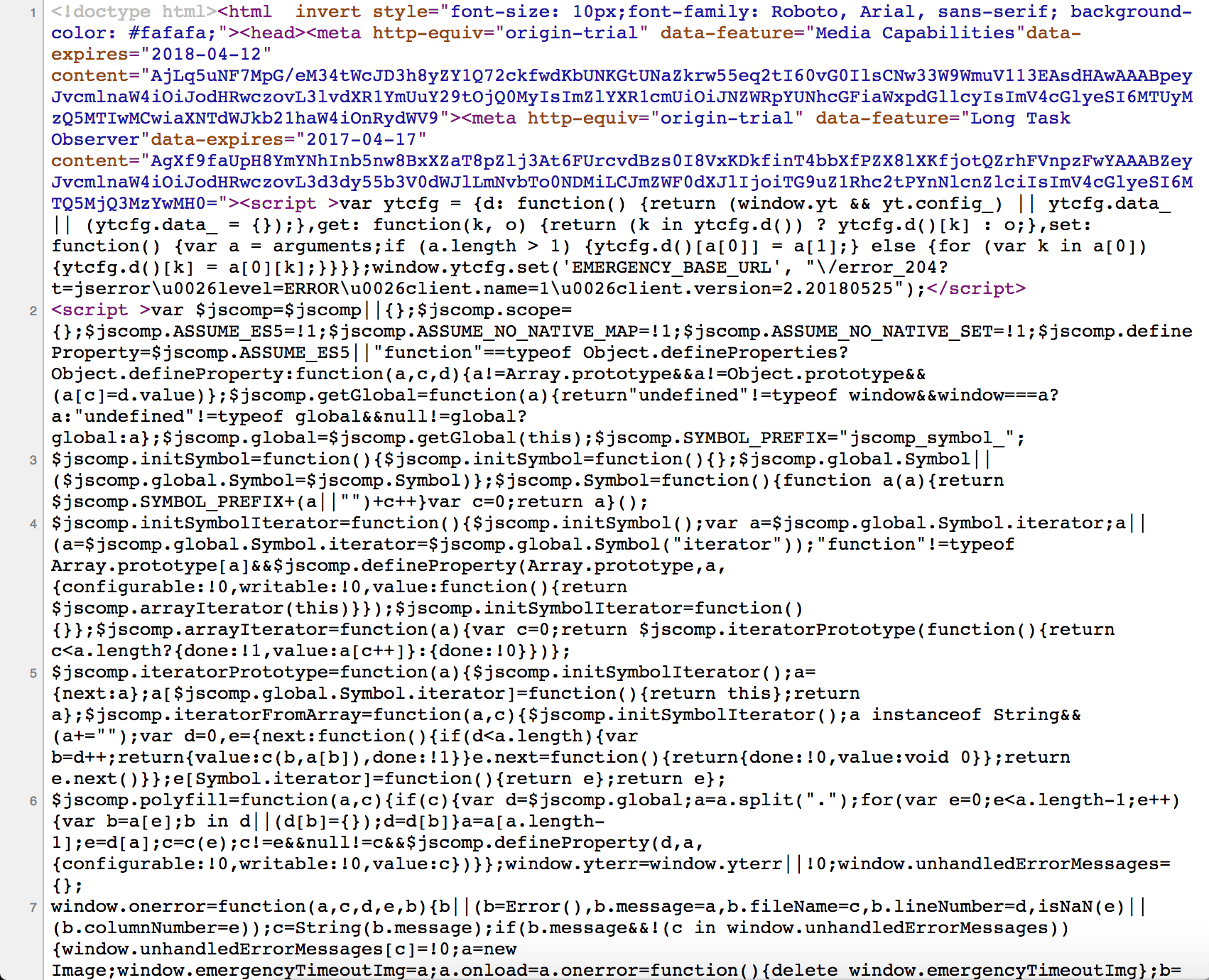Page source code