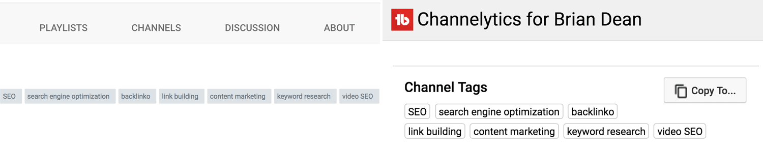 Youtube Channel Keywords