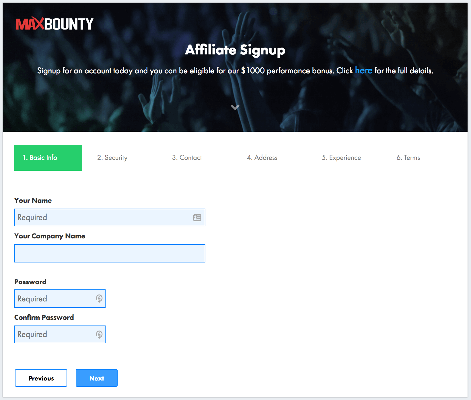 MaxBounty – Affiliate signup