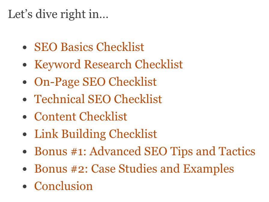 SEO Checklist – Contents