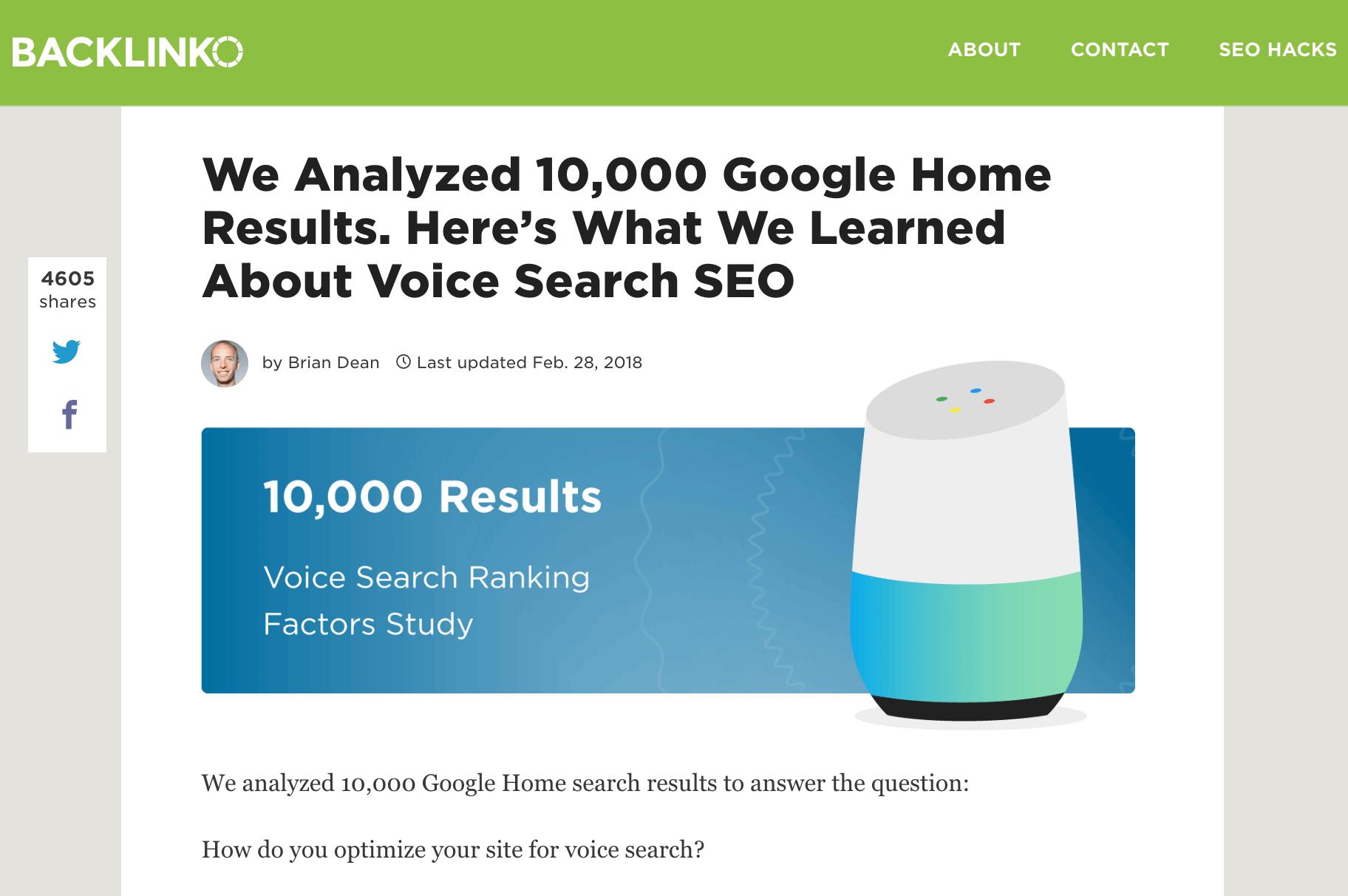 Voice Search SEO Study