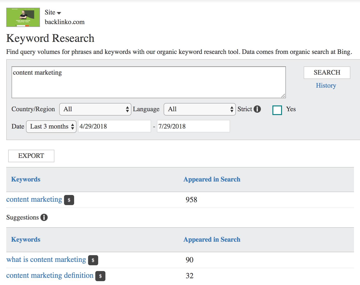 Bing Webmaster Tools – Keyword Research tool