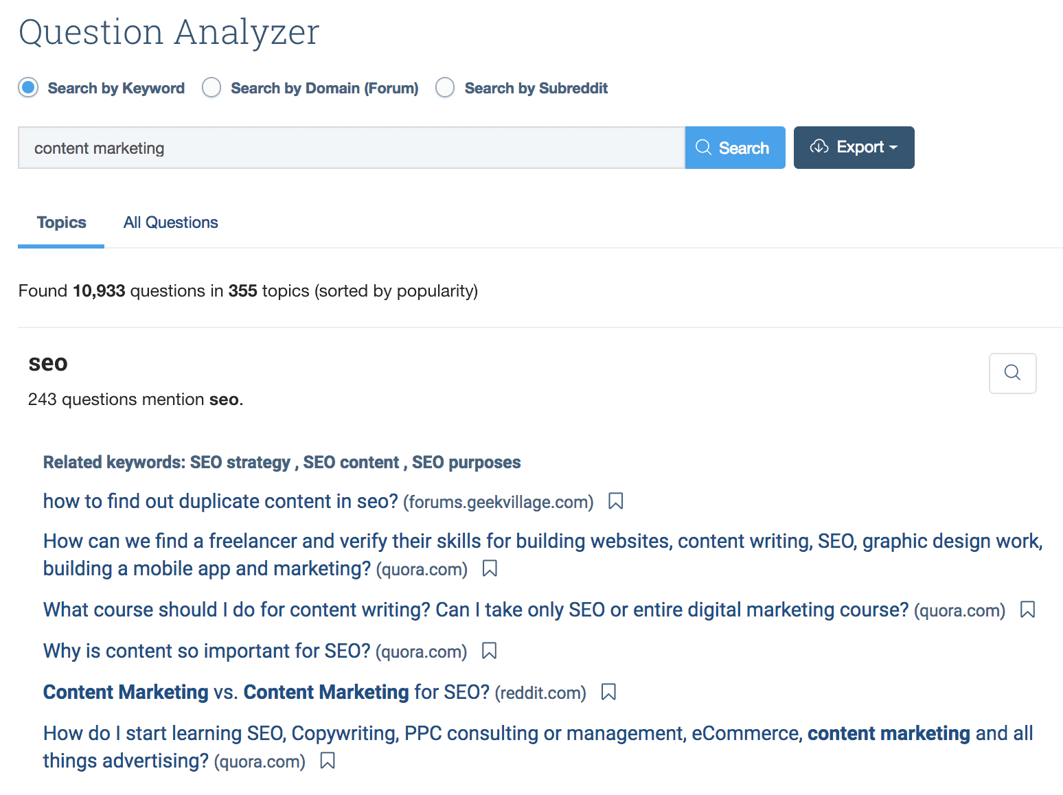 BuzzSumo Question Analyzer