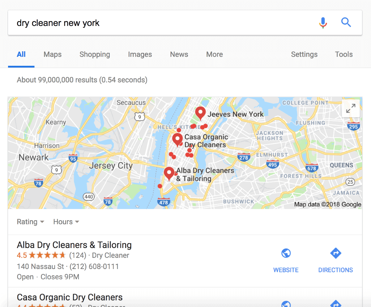 Dry cleaner New York Google search