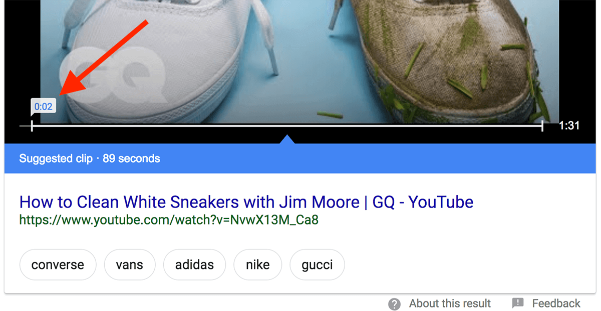 Video Featured Snippet – Section of focus