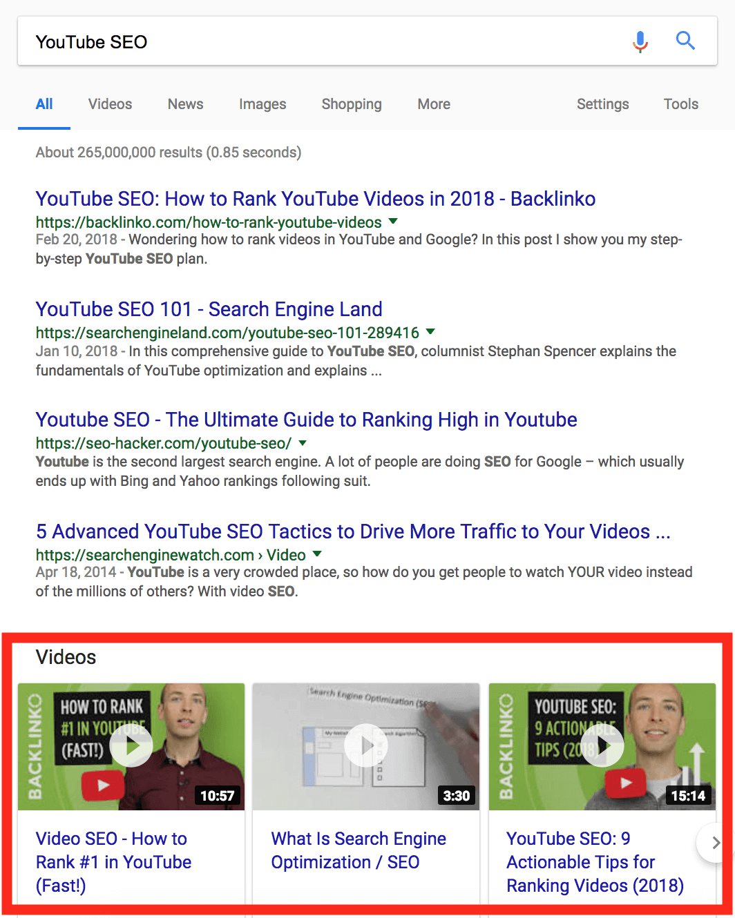 YouTube SEO SERPs video