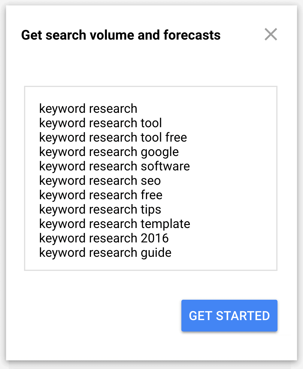 Google Keyword Planner – Volume & Forecasts