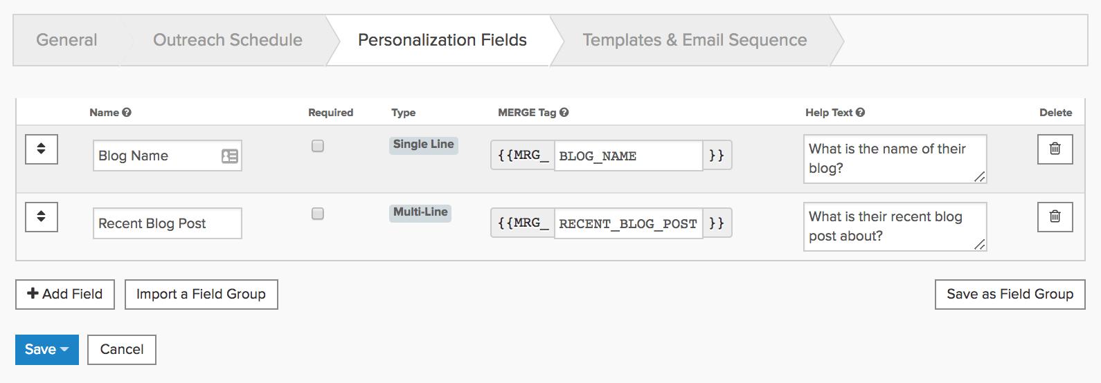 Pitchbox – Personalized fields