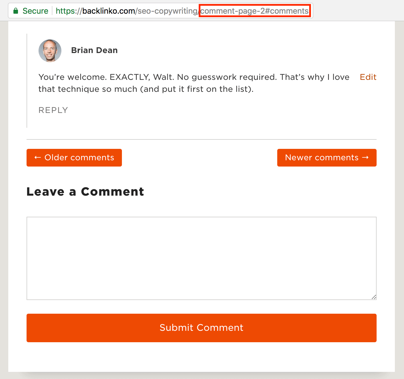 Backlinko comment pagination