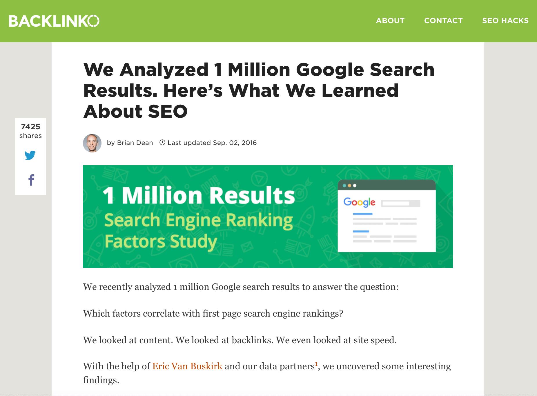 Backlinko – Google Ranking Factors study