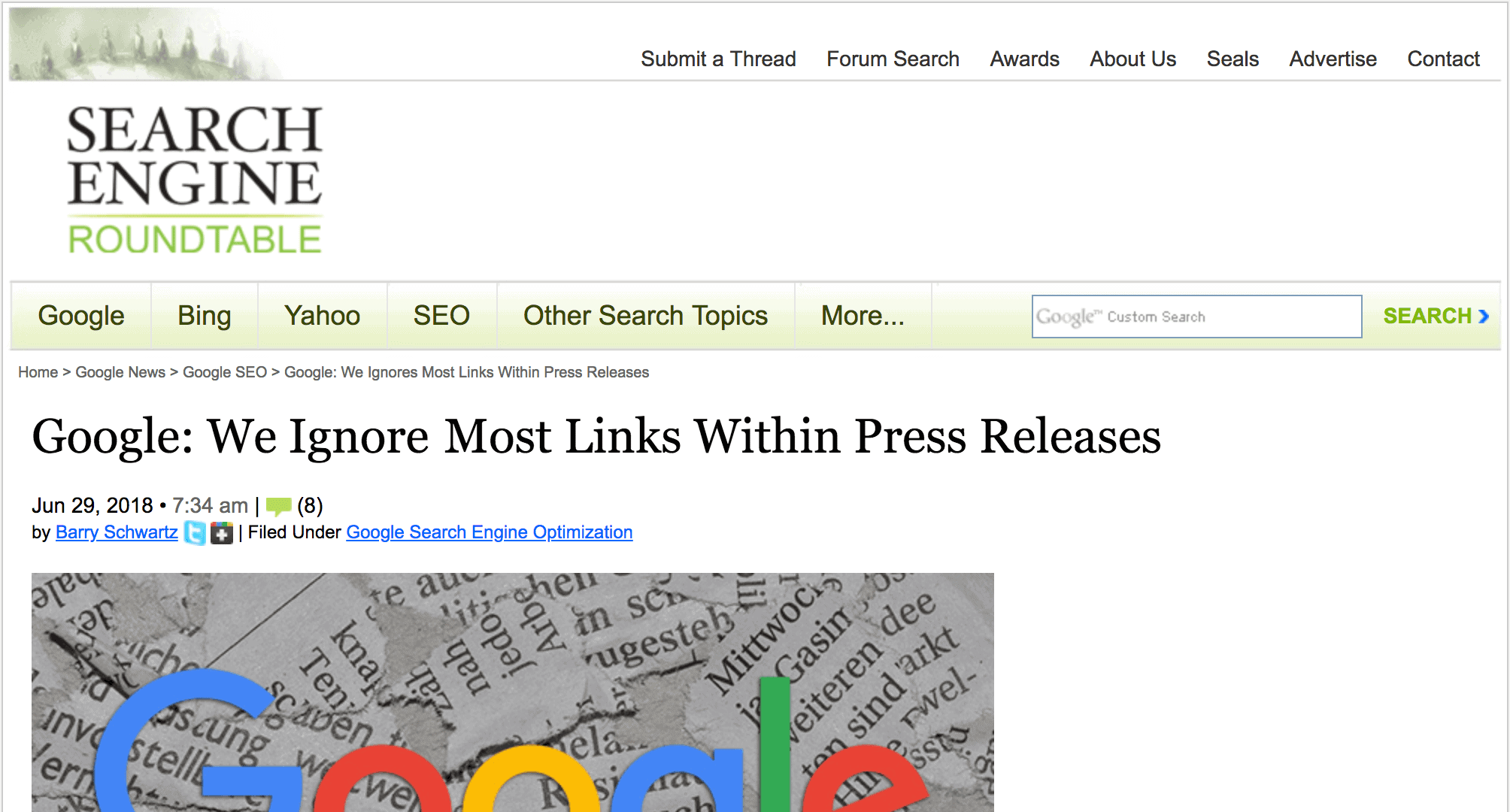 "Google: ""We ignore most links in press releases"""