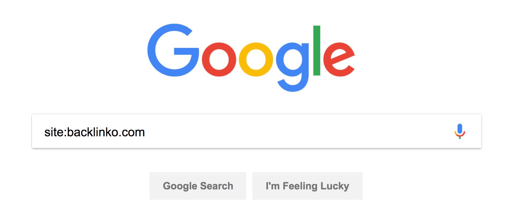 """site:yourwebsite"" into Google"