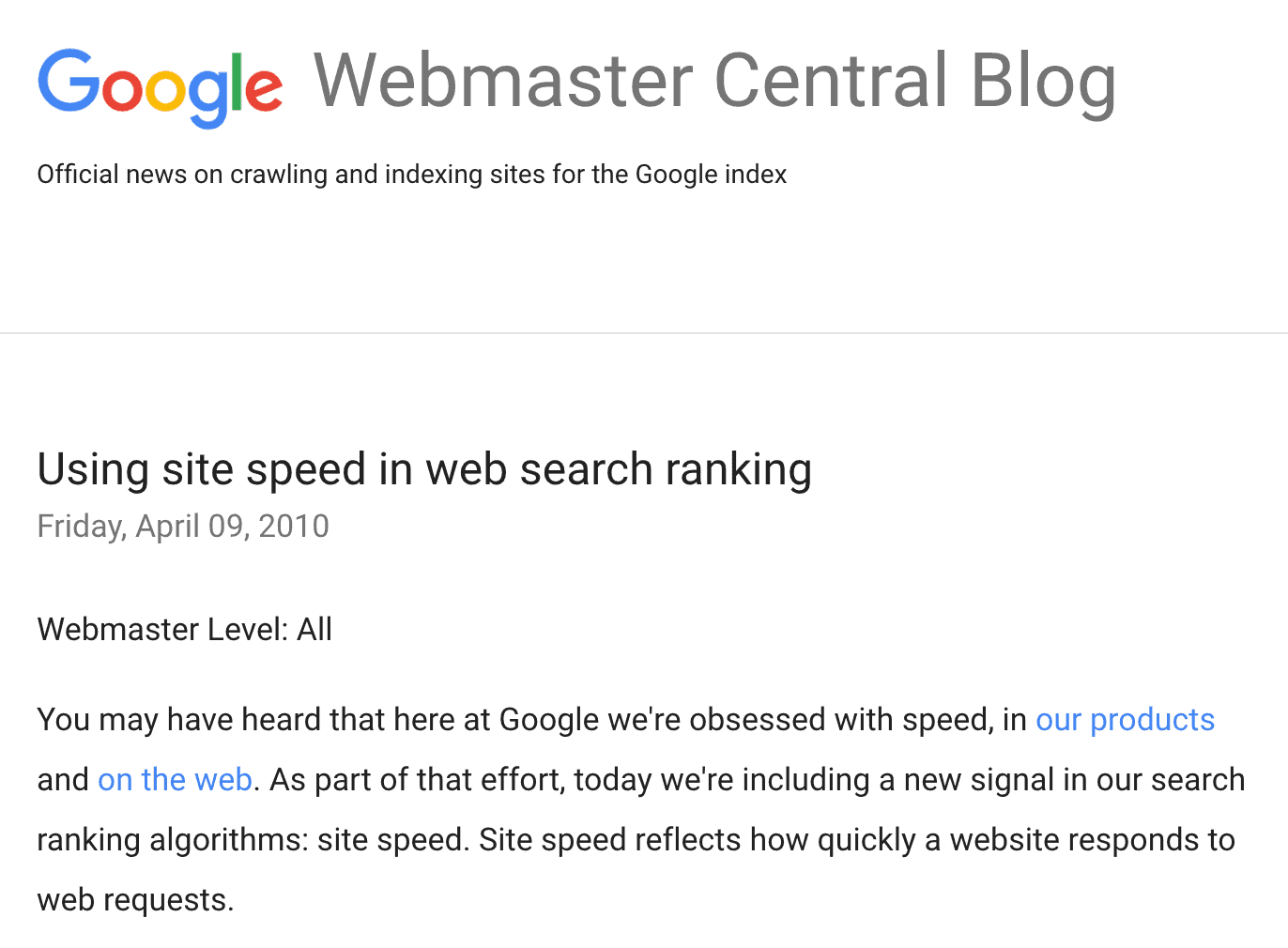 A site's loading speed is a ranking factor