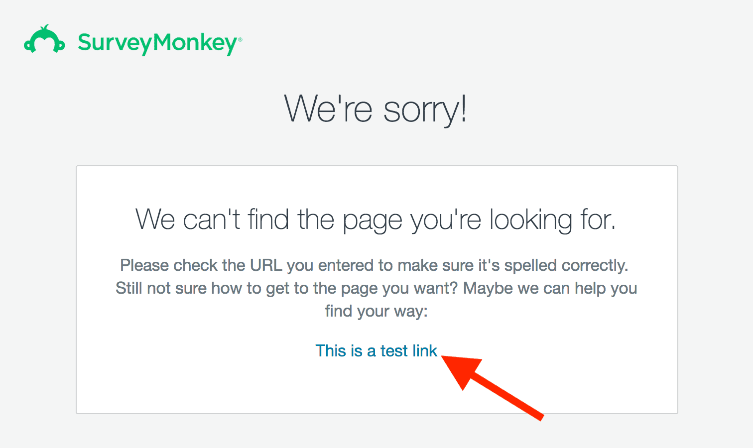 SurveyMonkey – 404 page with link