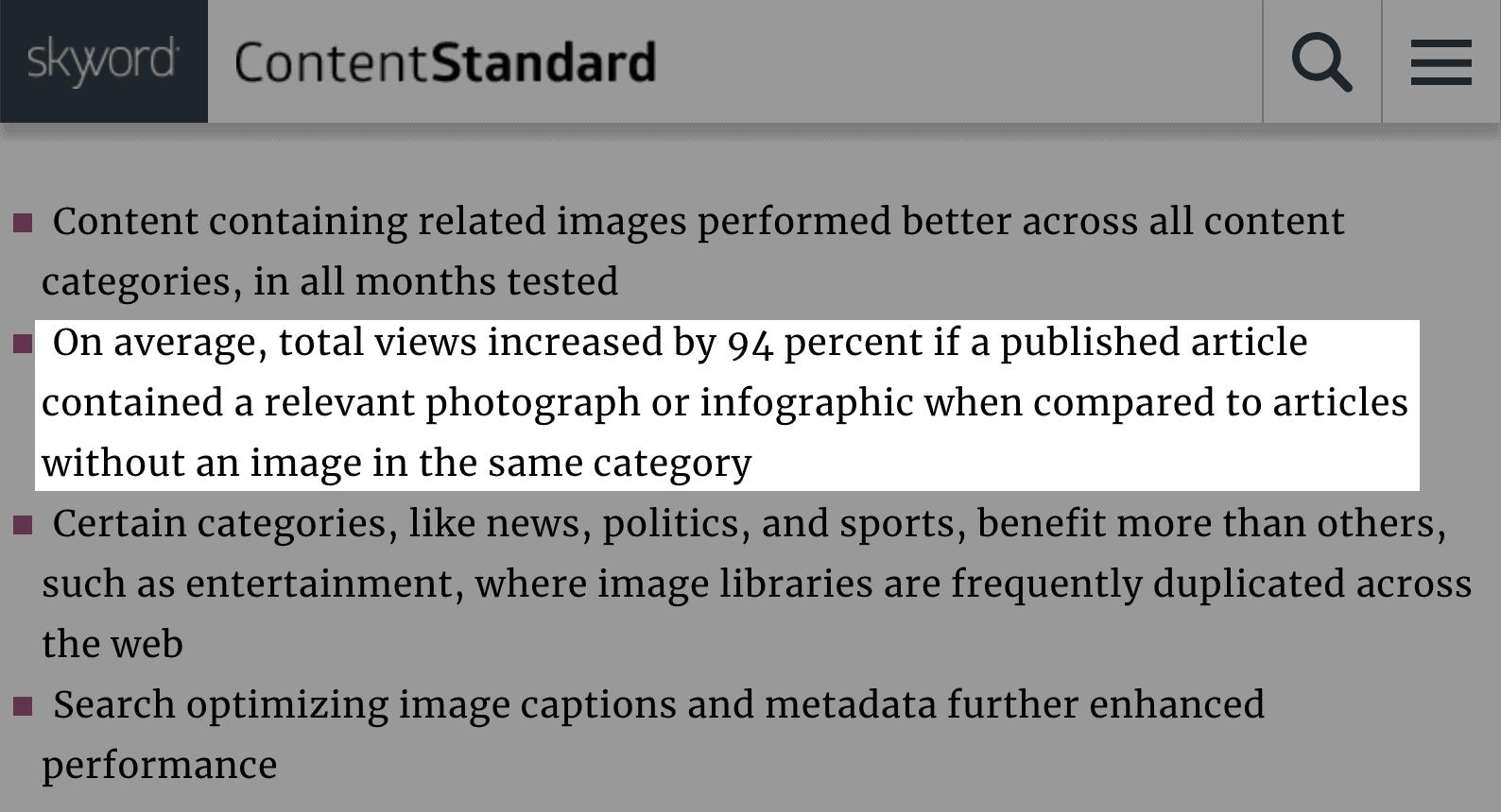 Статьи с хотя бы одним изображением получают гораздо больше трафика
