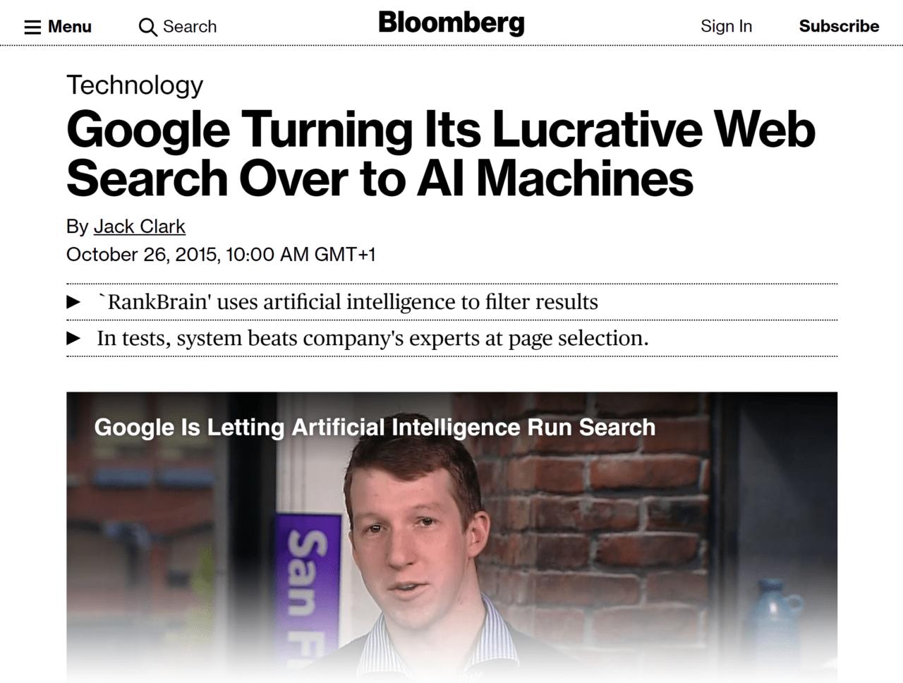 Bloomberg – RankBrain article
