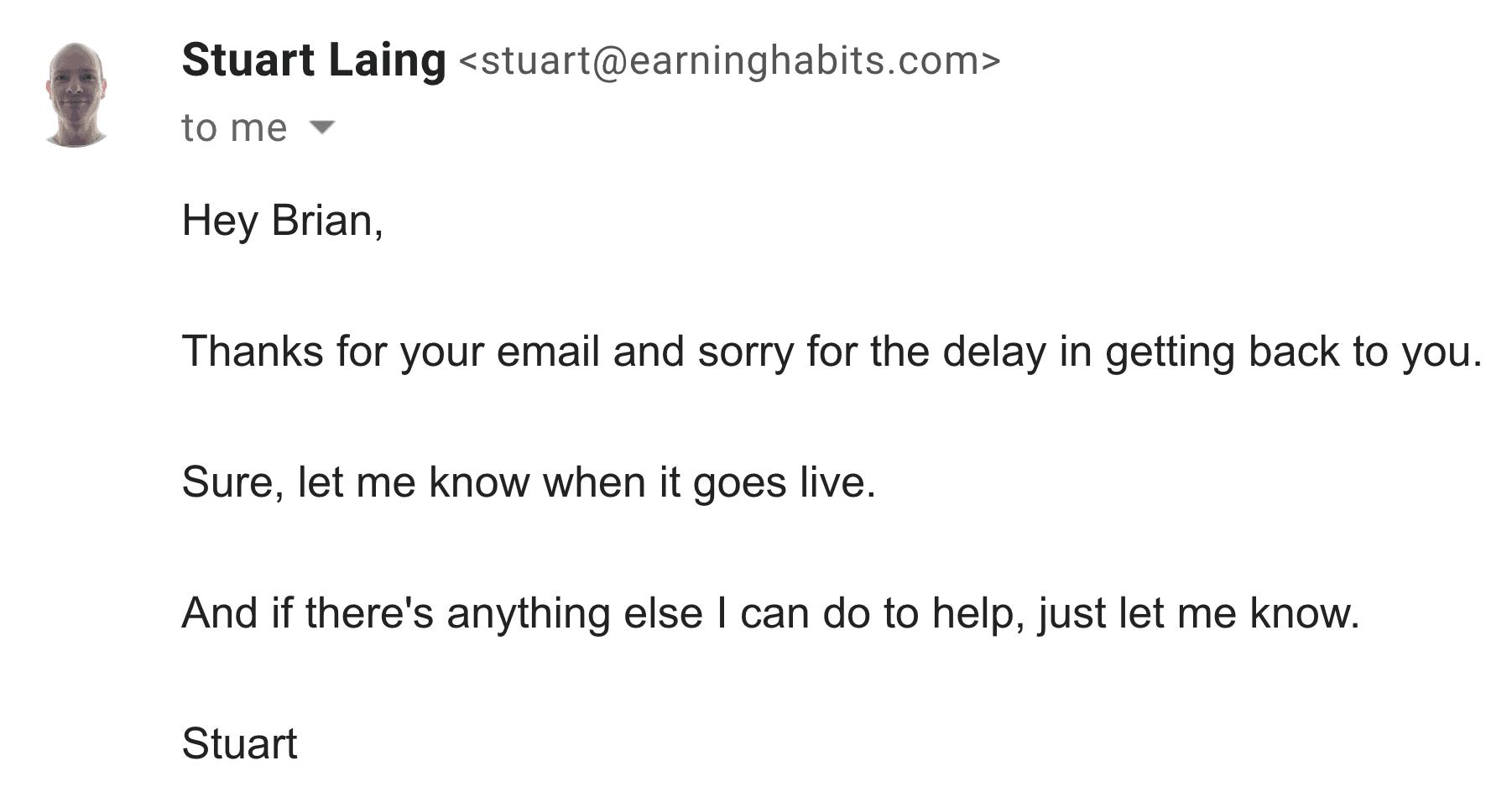 Brian outreach – Step one: Response