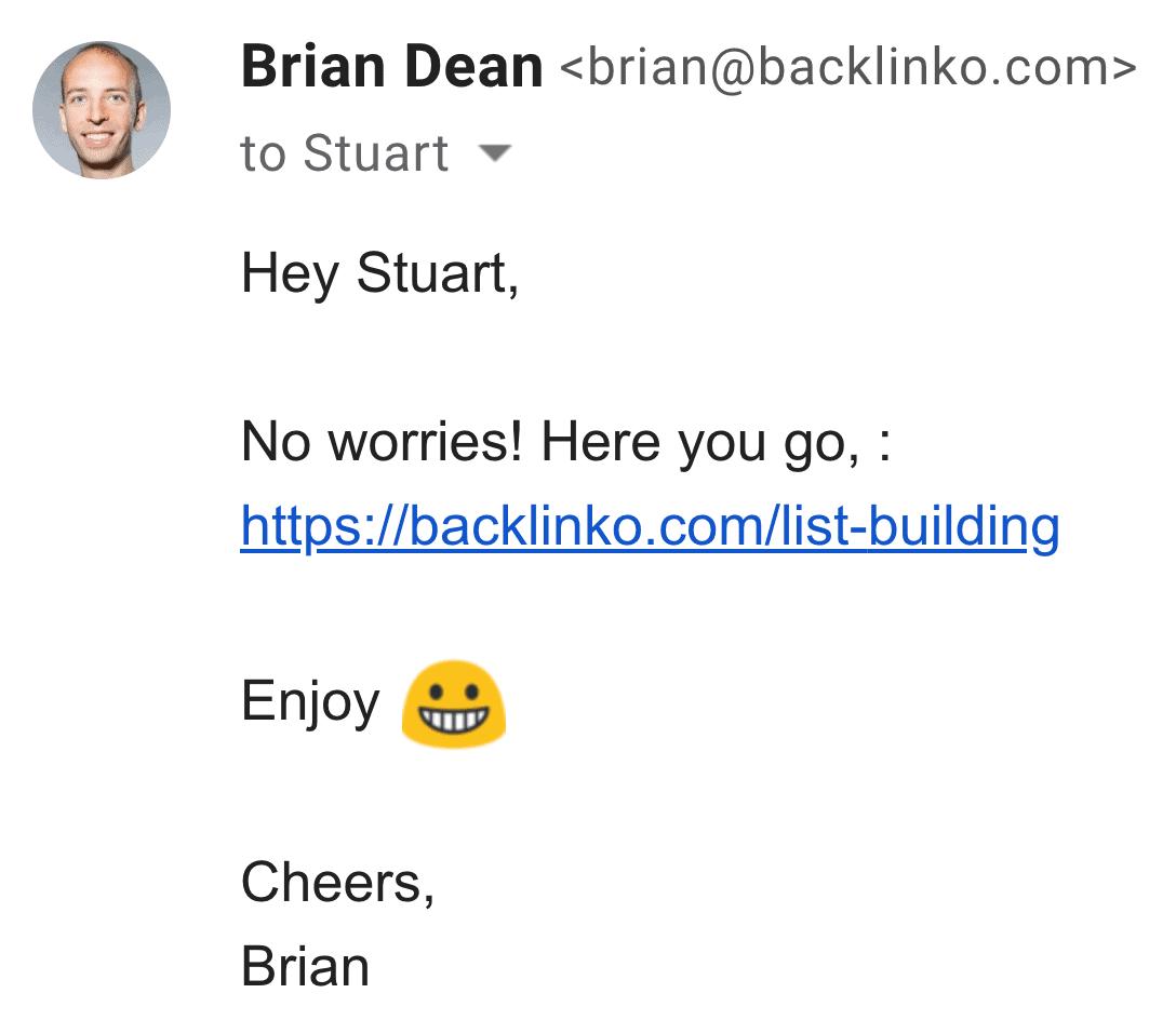 Brian outreach – Step two